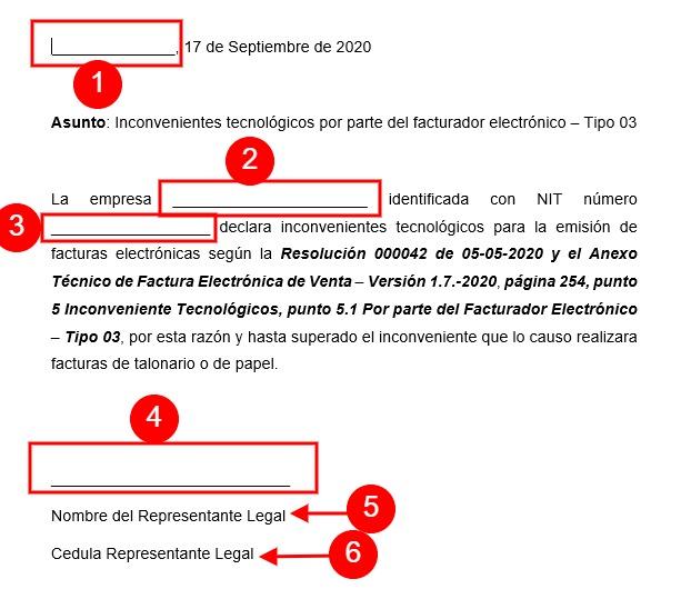 Carta Contingencia Factura Electrónica
