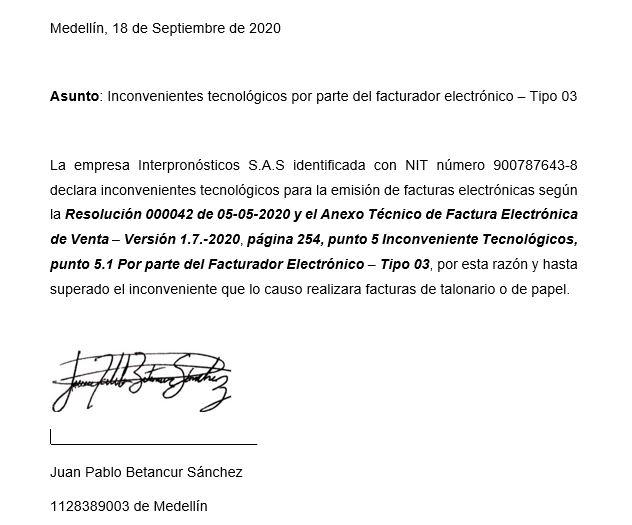 Carta Contingencia Factura Electrónica Diligenciada