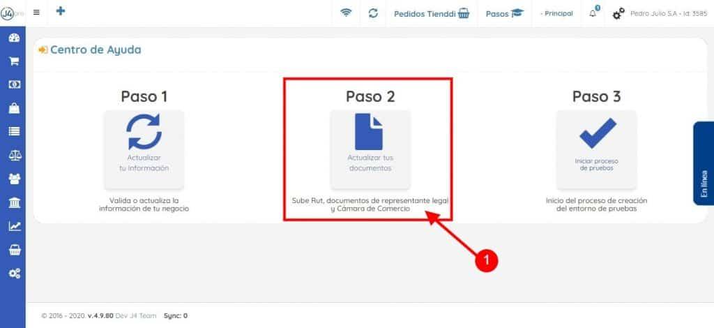 Paso 2 - Botón Actualizar Documentos