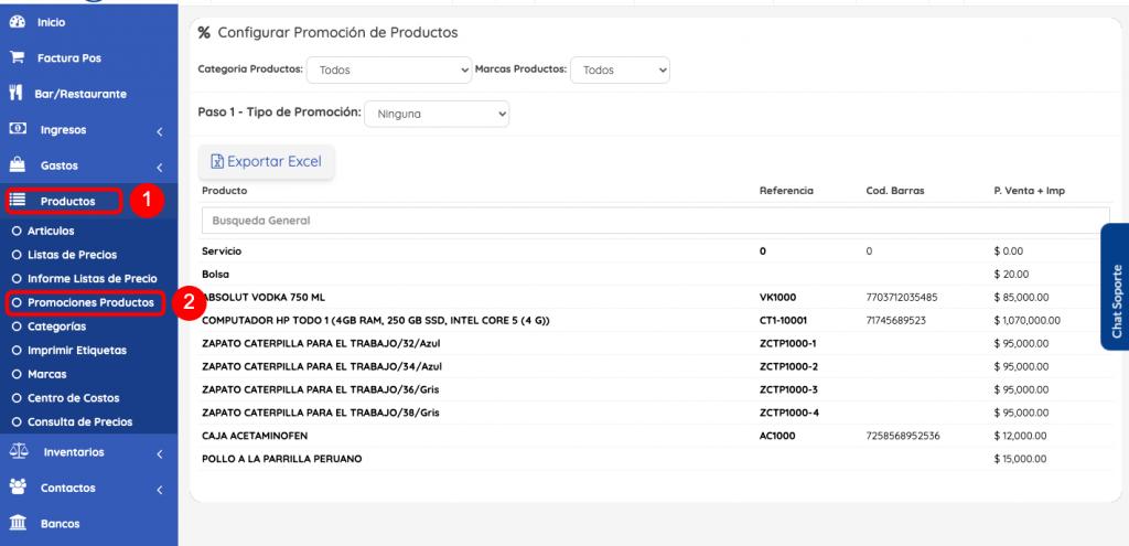 configurar promociones productos